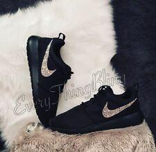 NIB-SWAROVSKI Clear Elements Womens Nike Roshe One- Bling Nikes Size 6.5 Black