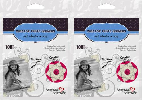 "2 Bags x 108 Each Scrapbook Adhesives *216* Ivory Photo Corners 1//2/"" 426400"
