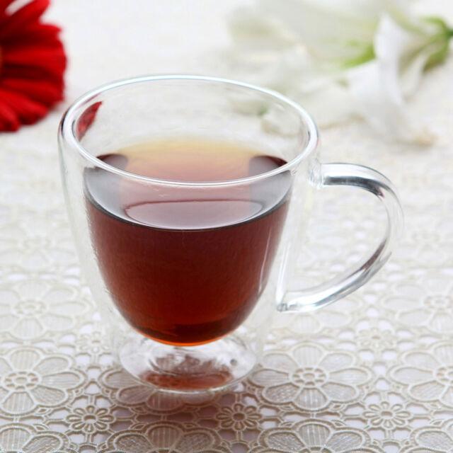 Double wall Glass Tea cup coffee mug borosilicate glass heart reistant 240ml