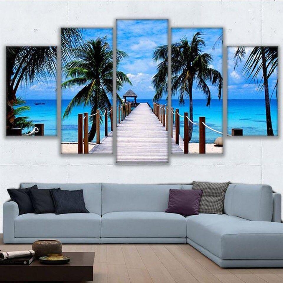 Beach Palm Trees Bridge 5 Panel Canvas Print Wall Art