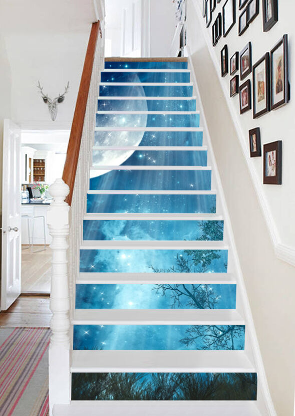 3D Sky Moon 7 Stair Risers Decoration Photo Mural Vinyl Decal Wallpaper AU Lemon