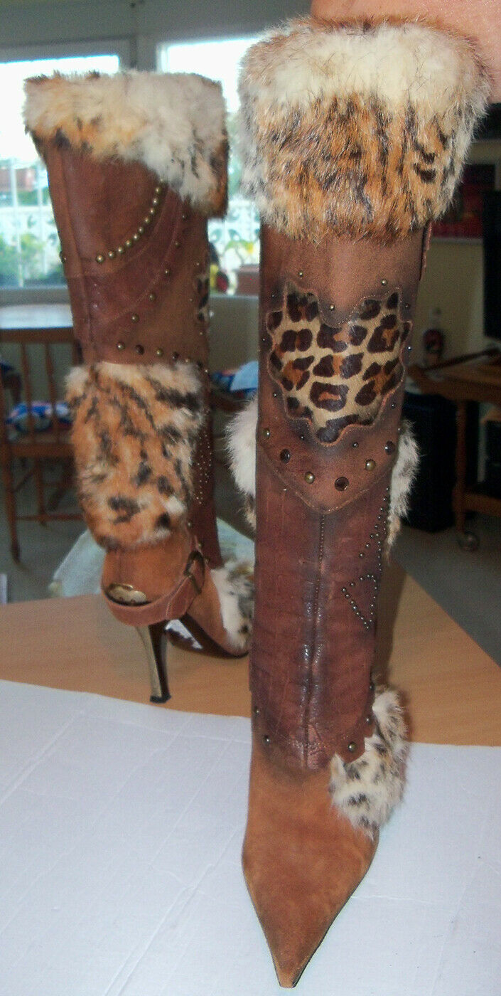 Am Dante tacón alto botas tamaño 37 lentejuelas tachuelas verdadera a mano
