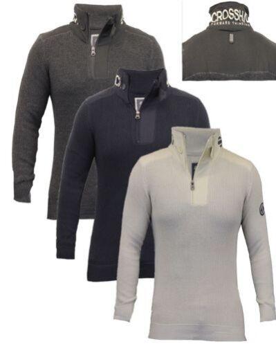 Nuovo da Uomo Crosshatch Alte collo Pullover Lavorato a Maglia Maglione S M L XL