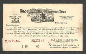 DATED-1922-PC-NY-ROSECLIFF-SHIRT-CORP-MFRS-SHIRTS-YALE-BRAND-CRAVATS-TIES