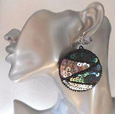 Big Sequin Clip-on Earrings:  Silver/Black Transvestite Drag Queen