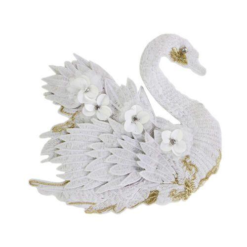3D Embroidery Swan Patches Sew On Applique Patch for Clothing Jeans Crafts