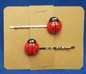 LADYBUG-Insect-Handmade-Bobby-PIn-Hair-clips-Set-of-2