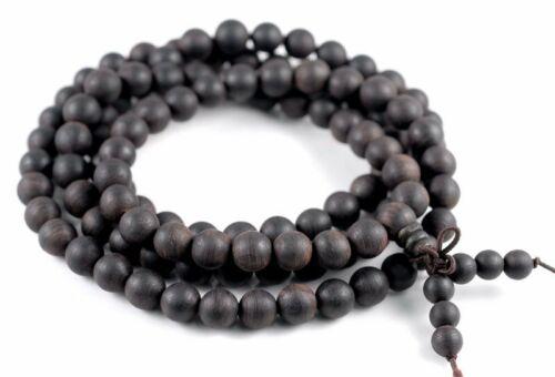 108PCS 6mm Natural Black Agarwood Aquilaria Mala Beads Round 90182975-399