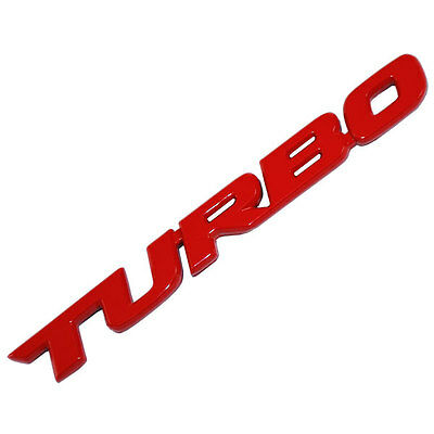 RED METAL TURBO TEXT ENGINE RACE MOTOR SWAP EMBLEM BADGE FOR TRUNK HOOD DOOR B