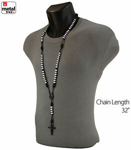 Men-039-s-Hip-Hop-8mm-WHITE-Bead-Black-Rosary-Pray-Hand-amp-Jesus-Cross-Necklace-BKWH
