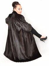 US942 beauty Women Mink fur coat jacket FULL LENGTH dark Nerzmantel ca. XL