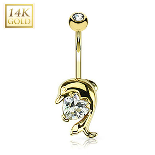 14K Solid GOLD Dolphin Clear Heart BELLY BUTTON NAVEL Bar RINGS Piercing Jewelry