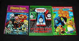 Children's DVD 3 Lot The Jungle Bunch Thomas & Friends Fraggle Rock DVDS Kids