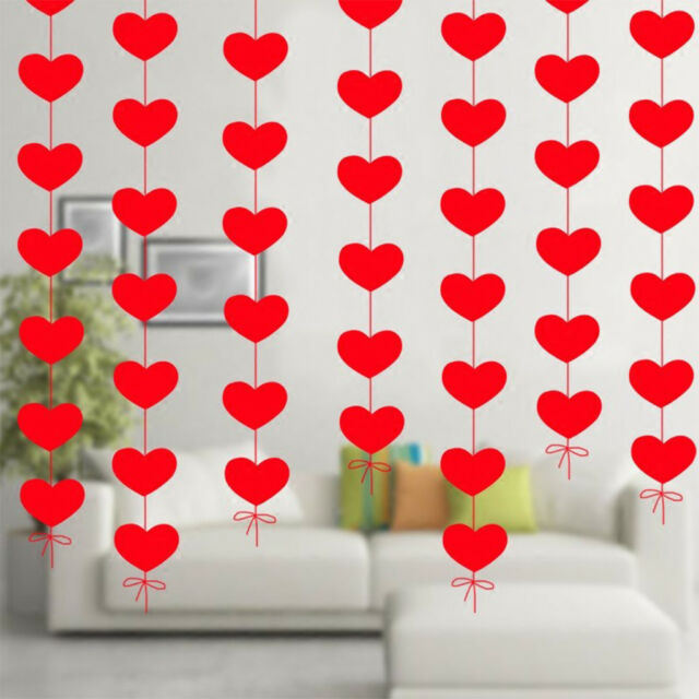 hanging red heart string valentines day decorations engagement