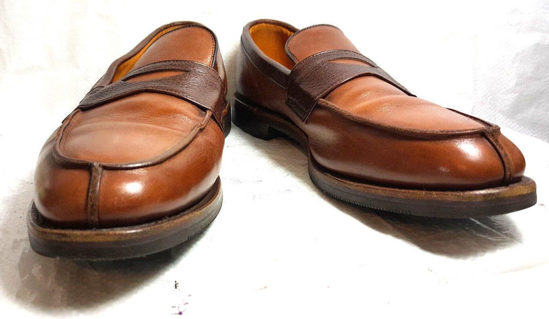 Allen Edmonds Uomo BRETON Penny Loafers split toe 10.5D  Tan/Brown solid leather
