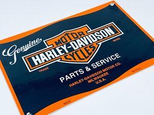 VINTAGE-HARLEY-DAVIDSON-PARTS-amp-SERVICE-ADVERTISING-PORCELAIN-GAS-amp-OIL-SIGN