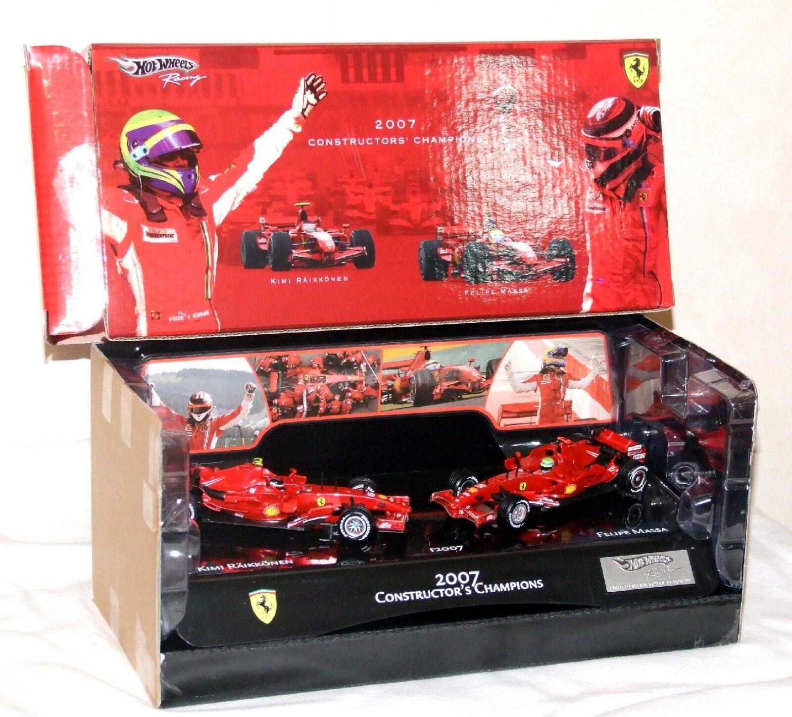 Hot Wheels 1 43 Ferrari F2007 Kimi Raikkonen Felipe Massa World Champion Set