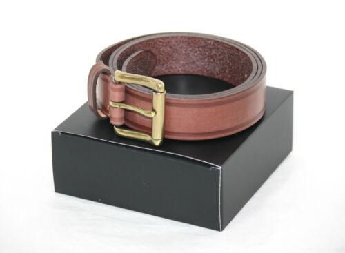 Castagno 30mm Briglia hide Leather Belt con una solida fibbia in ottone Roller