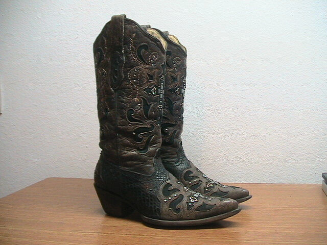 Womens 7.5 M CORRAL Brown Black Python Snakeskin Cross Cowboy Boots, MSRP  399