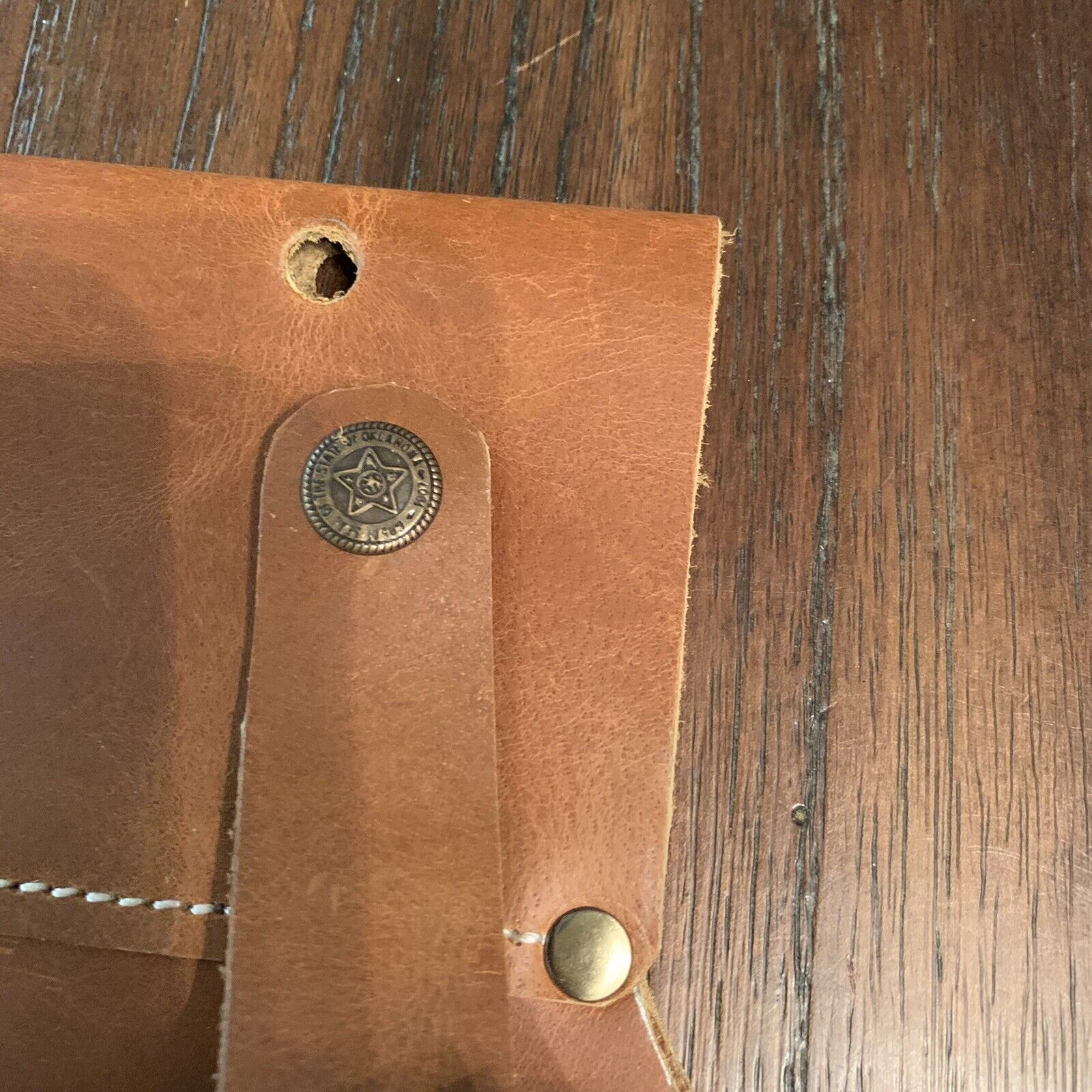 great seal of Oklahoma Leather drill holster Tan Brown New