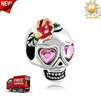 Silver Plated Base Pandora Charm Skull Bracelet Snake Rose Pink Heart Eyes Gift