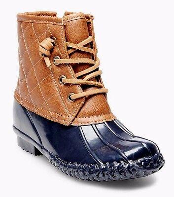 Stevies by Steve Madden Girls Navy/Brn #WELLIEJELLIE Duck Style Rain Boots - NWT