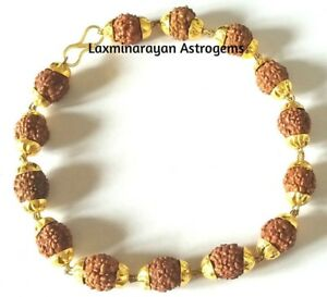 Image Is Loading Rudraksha Rudraksh Bracelet With Gold Plated Cap For