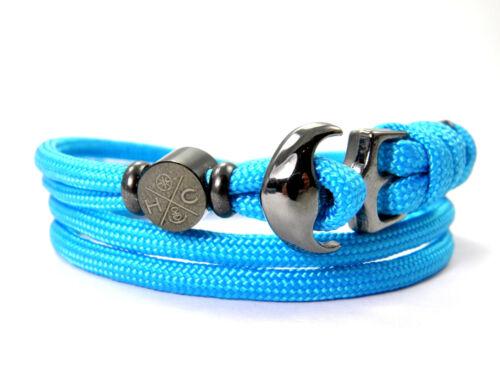 Maritimes Surfer Anker Armband-Paracord Wickelarmband-verstellbar-Greece Blue