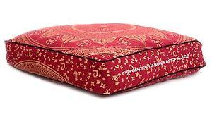 Bordeaux Pouf Housse Mandala Indien Carré Sol Oreiller Grand Coussin Taie 88.9cm
