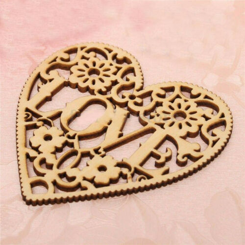Wooden Hollow Love Heart Table Scatter Wedding Party Decoration Crafts SK