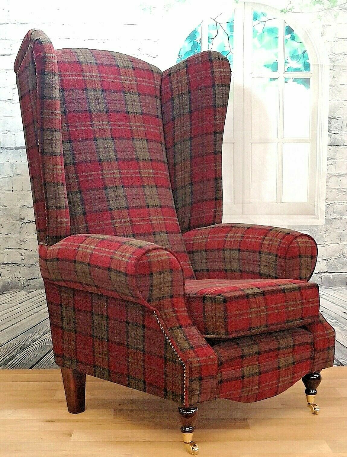 Wing Back Queen Anne Fireside Extra Tall High Back Chair Lana Red Tartan