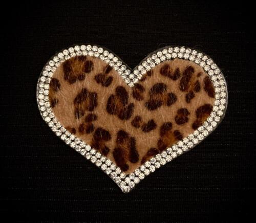 "Silver Crystal Rhinestone Fuzzy Leopard Print Heart Patch Iron On Applique 2.5/"""