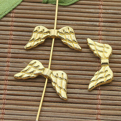 20pcs gold tone angel wing spacer beads h3976