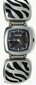 ES1901-Fossil-F2-watch-ZEBRA-chunky-bold-27mm-face-7-75-034-stainless-steel