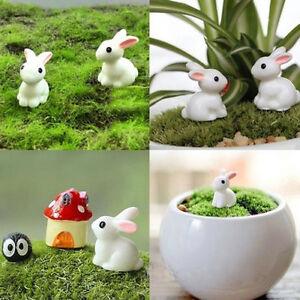 2Pcs-Kaninchen-Art-Miniatur-Figur-Pflanze-Topf-feenhafter-Garten-Verzierung