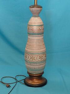 LARGE-VINTAGE-60s-MANNER-of-SASHA-BRASTOFF-ITALIAN-CERAMIC-MARBRO-TABLE-LAMP-48-034