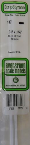 Evergreen Strip Styrene 117 10 x .015 x.156 Strips
