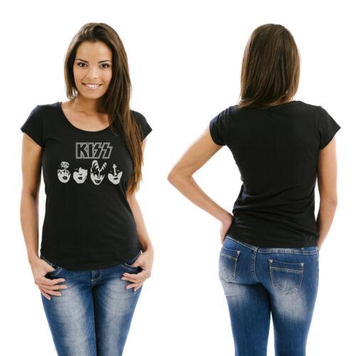 Femmes Fille T-shirt Kiss-Taille S-XXXL-KULTIG Fanshirt Sérigraphie Argent