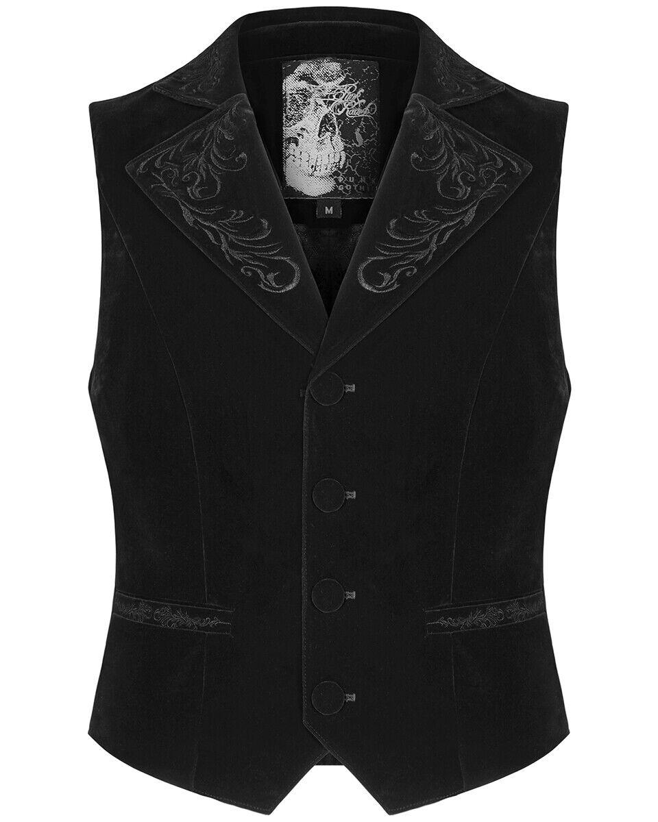 Punk Rave Mens Gothic Waistcoat Vest Black Velvet Embroidered Steampunk Vampire
