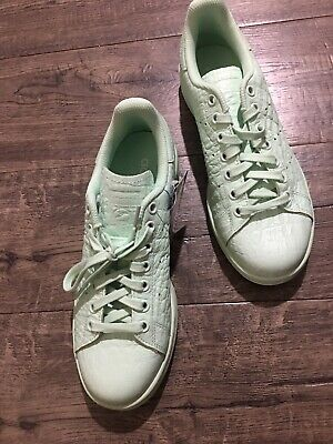 finest selection fa7eb db18a NEW Adidas Original Stan Smith Sneakers Mint Green Crocodile Leather Womens  7.5 | eBay