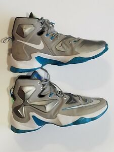 b70be485324 NIKE Lebron James XIII Blue Lagoon Edition Wolf Grey White Hologram ...