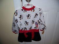 Vtg Popsicle Dress Girls Size 3t Skating Penguin Print Christmas Toys R Us