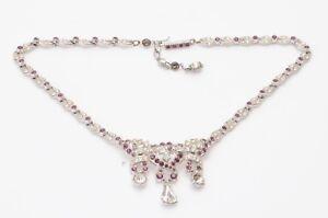 Vintage-Designer-silver-tone-metal-clear-amethyst-crystal-necklace-NEW-195