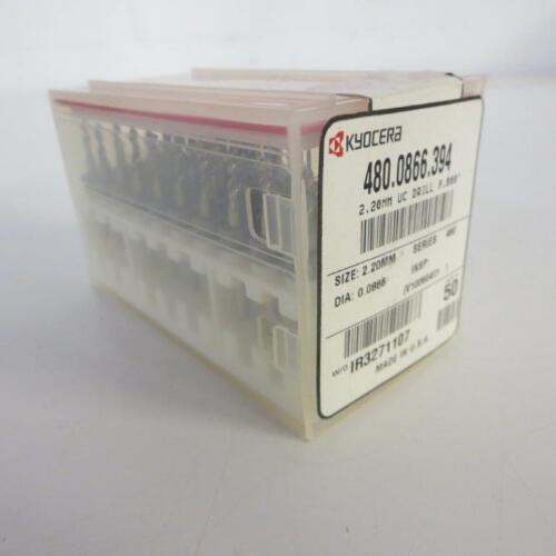 """BOX OF 50 KYOCERA 480.0866.394 2.20MM STD S150 PCB DRILL BIT @ .800/"""""""