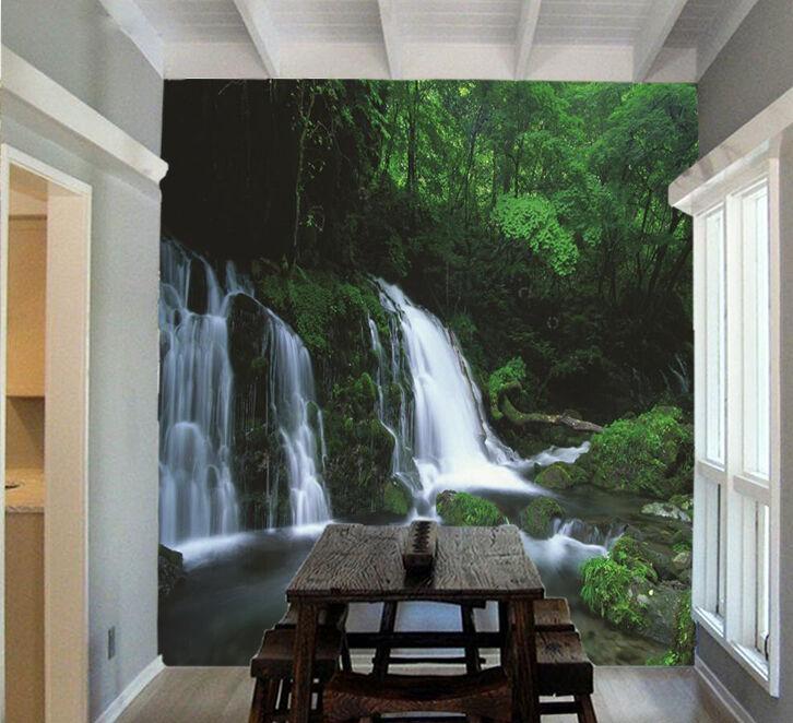 3D Grün Forest Waterfall 01 Paper Wall Print Wall Decal Wall Deco Indoor Murals