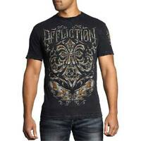 Men's Affliction Abrasive Line Chrome Skull Motorcycle Mma Graphic Print T-shirt