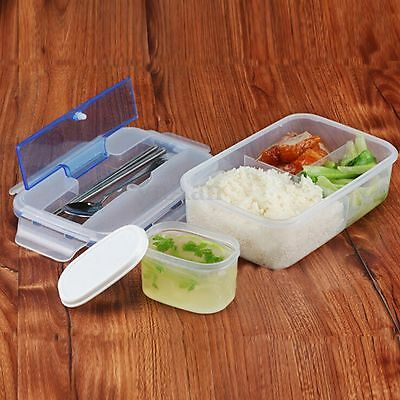 Microwave Lunch Box Case with Soup Bowl Chopsticks Spoon Food Containers Office