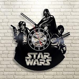 Darth vader vinyl record wall clock star wars black luke skywalker han solo art ebay - Darth vader wall clock ...