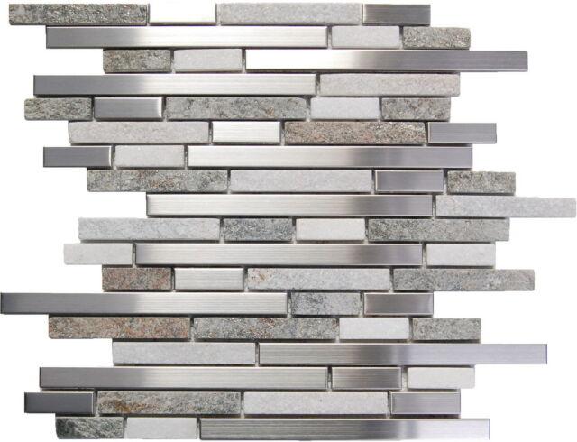 SAMPLE- Stainless Steel White Gray Stone Mosaic Tile Kitchen Backsplash Wall Spa