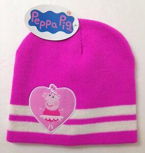 8ba238e3 New PEPPA PIG BEANIE Dark Pink White Stripe Heart Winter Knit Ski ...